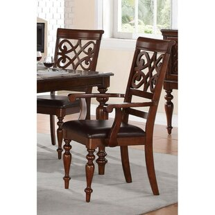 Granborough Wooden Genuine Leather Upholstered Dining Chair Fleur De Lis Living