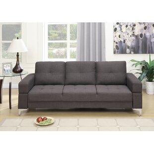 Polyfiber Adjule Sofa With Movable Armrest In Dark Grey