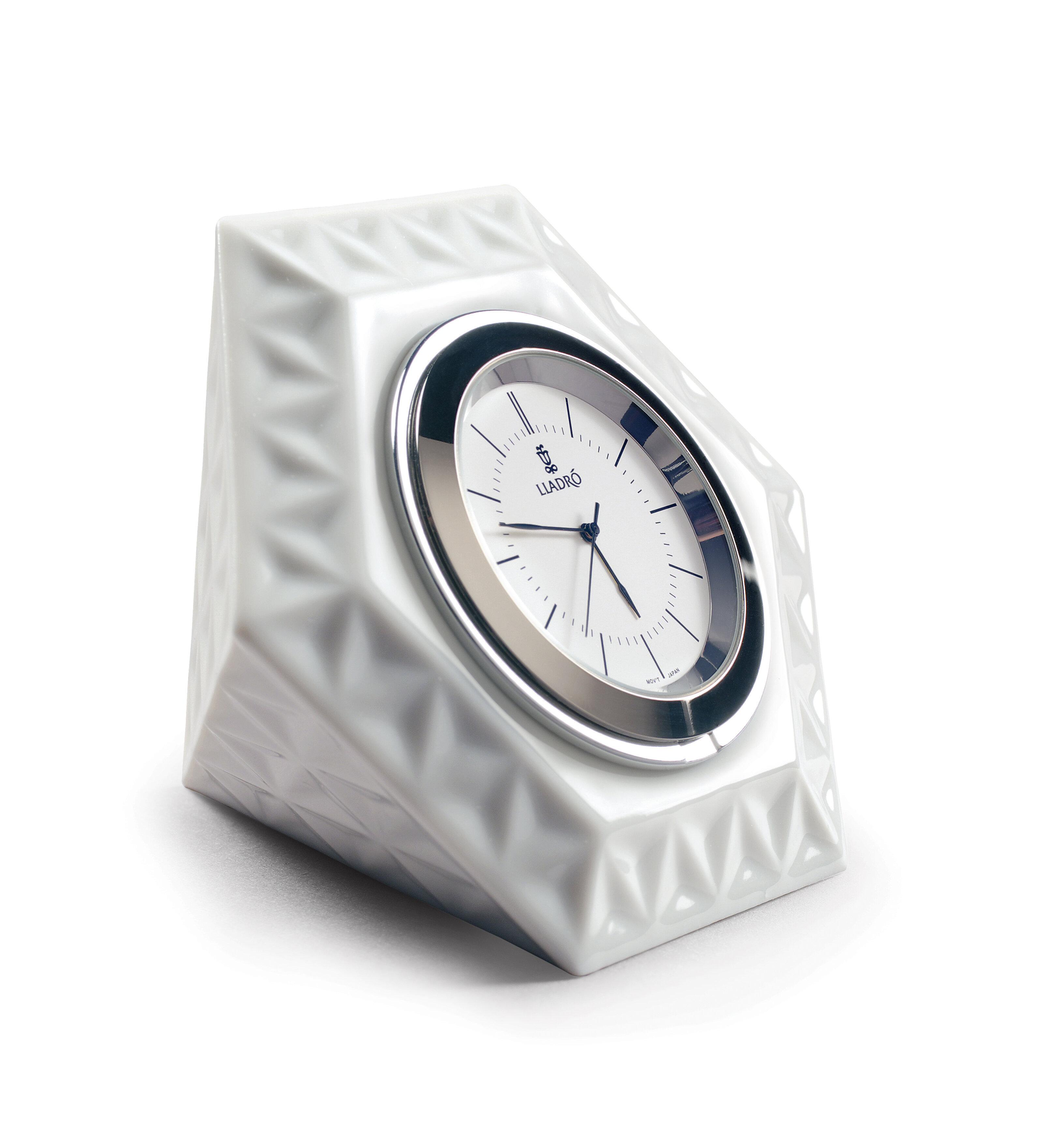 Lladro Hitoiki Analog Porcelain Mechanical Tabletop Clock In White Perigold