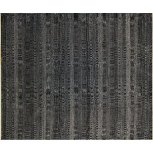 Top Reviews One-of-a-Kind Abrahams Fine Hand-Knotted Black Area Rug By Isabelline