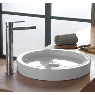 Comparison Bucket Ceramic Circular Vessel Bathroom Sink with Overflow ByScarabeo by Nameeks