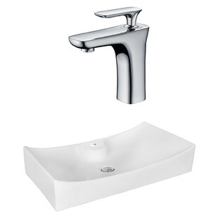 Check Prices Above Counter Ceramic Rectangular Vessel Bathroom Sink with Faucet By Royal Purple Bath Kitchen