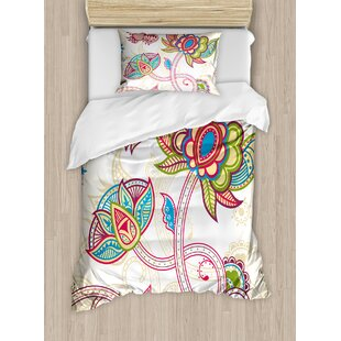 Ethnic Birds and Curved Flower Petals Shabby Elegance Style Artsy Image Duvet Set by East Urban Home