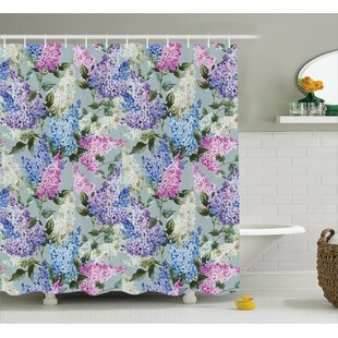 Cohen Floral Garden and Leaf Print Shower Curtain + Hooks