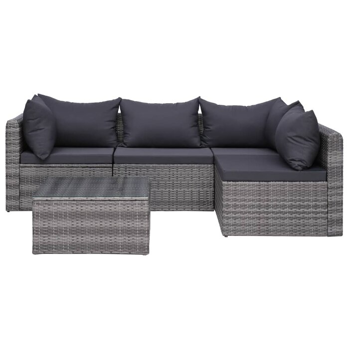 Olgethorpe 5 Piece Rattan Sectional Seating Group with Cushions
