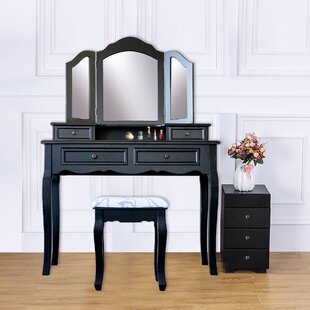 Great Price Hilburn Wood 4 Drawer Vanity Set with 3 Folding Mirror By Alcott Hill