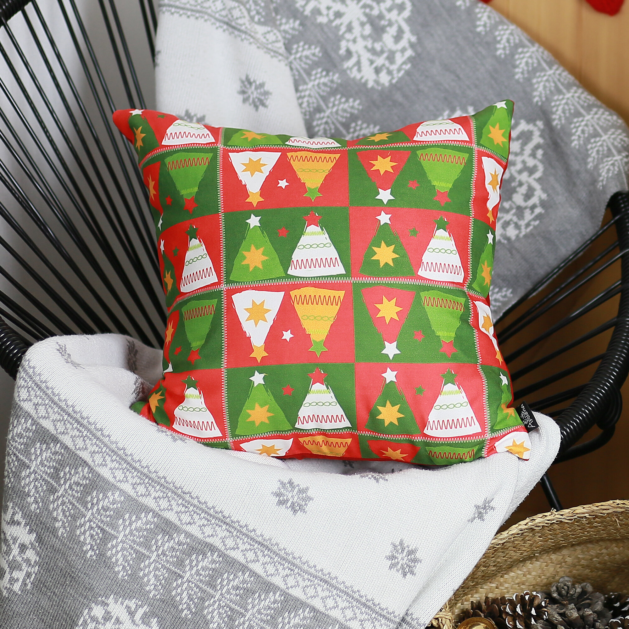 The Holiday Aisle Lofgren Merry Christmas Tree Throw Pillow Cover Wayfair