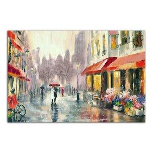 85b4b0e5dbc95 Paris Red Umbrella Painting | Wayfair
