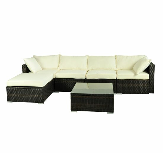 Aida 6 Piece Rattan Sectional Set with Cushions