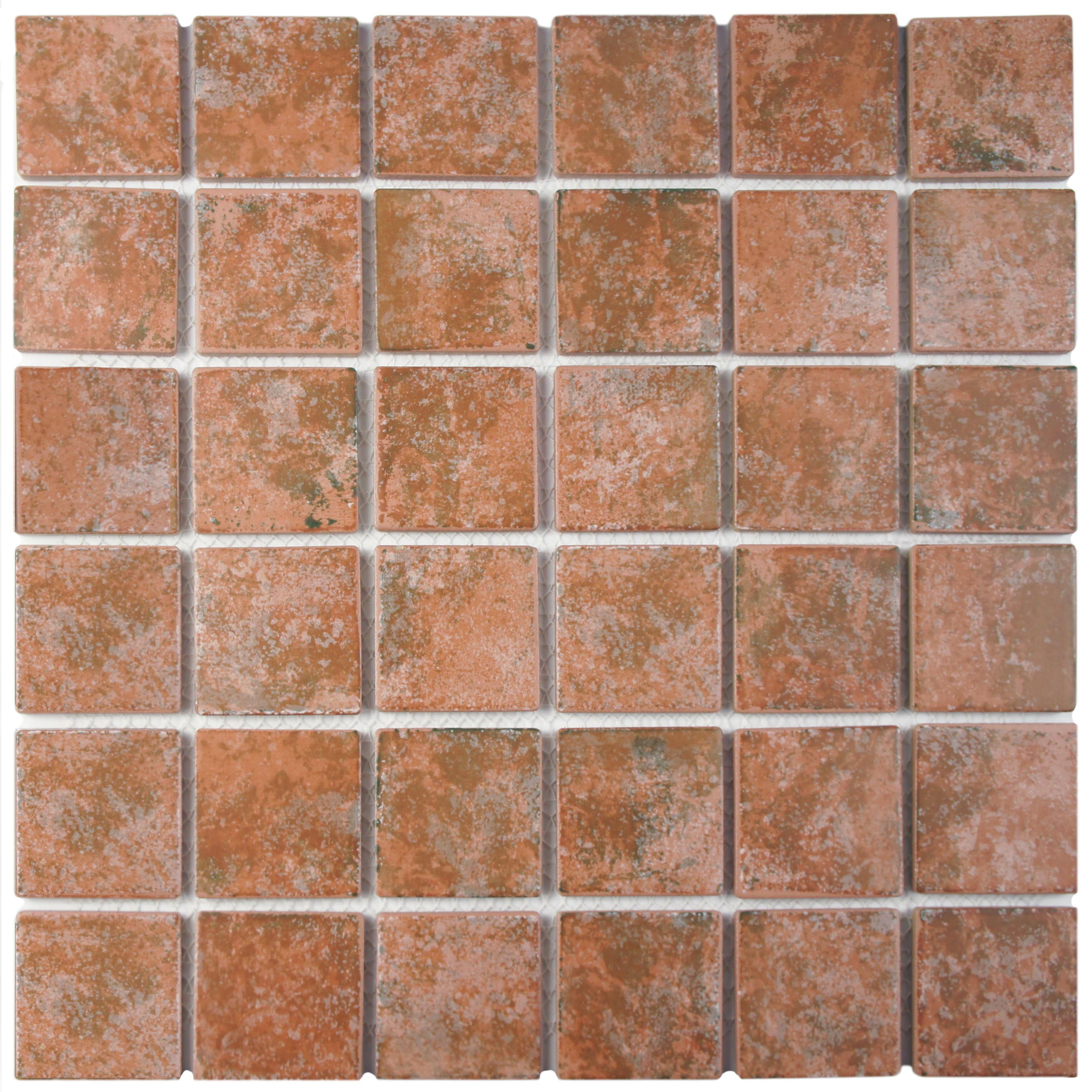 Elitetile Elbert 2 X Porcelain Mosaic Tile In Matte Brown Orange Gray Wayfair