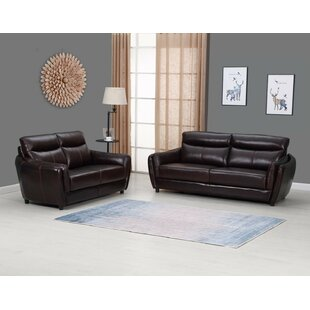Liberty Hill Top Grain Leather 2-Piece Living Room Set (Set of 2) by Red Barrel Studio