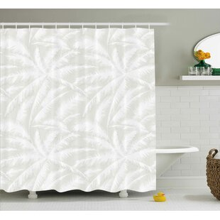 Evonne Abstract Sketchy Palm Leaves Jungle Foliage Tropical Eco Exotic Branch Artsy Design Single Shower Curtain