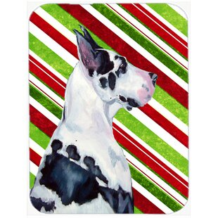 Great Dane Candy Cane Holiday Christmas Glass Cutting Board By Caroline's Treasures