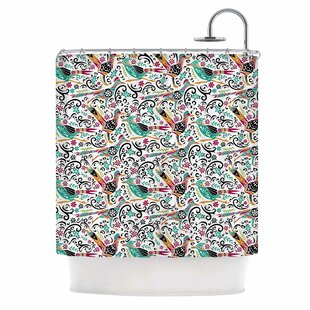 'Otomi Folk Birds' Illustration Single Shower Curtain