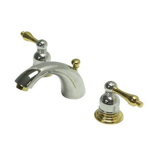 Kingston Brass Victorian Widespread Mini Bathroom Faucet with Brass Pop-Up Drain