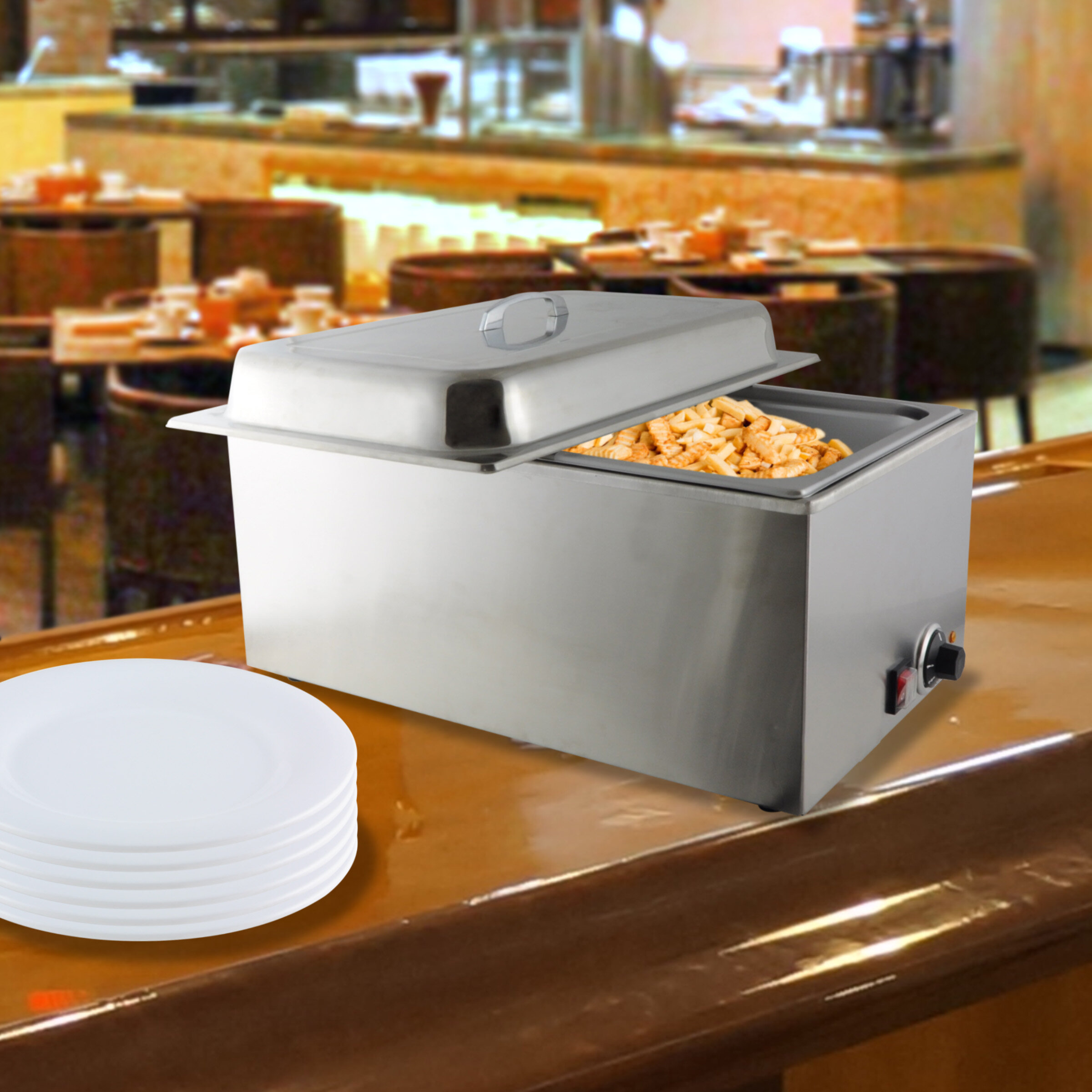 Groovy 3 5 Qt Stainless Steel Food Warmer With Steam Pan And Lid Interior Design Ideas Apansoteloinfo