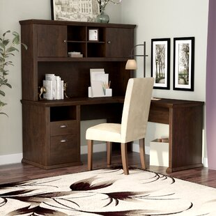 Three Posts Ferrell L-Shape Corner Desk with Hutch