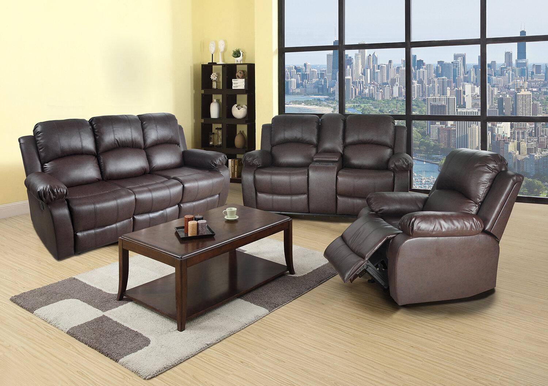 Ebern Designs Alissone 3 Piece Faux Leather Reclining Living Room Set Wayfair