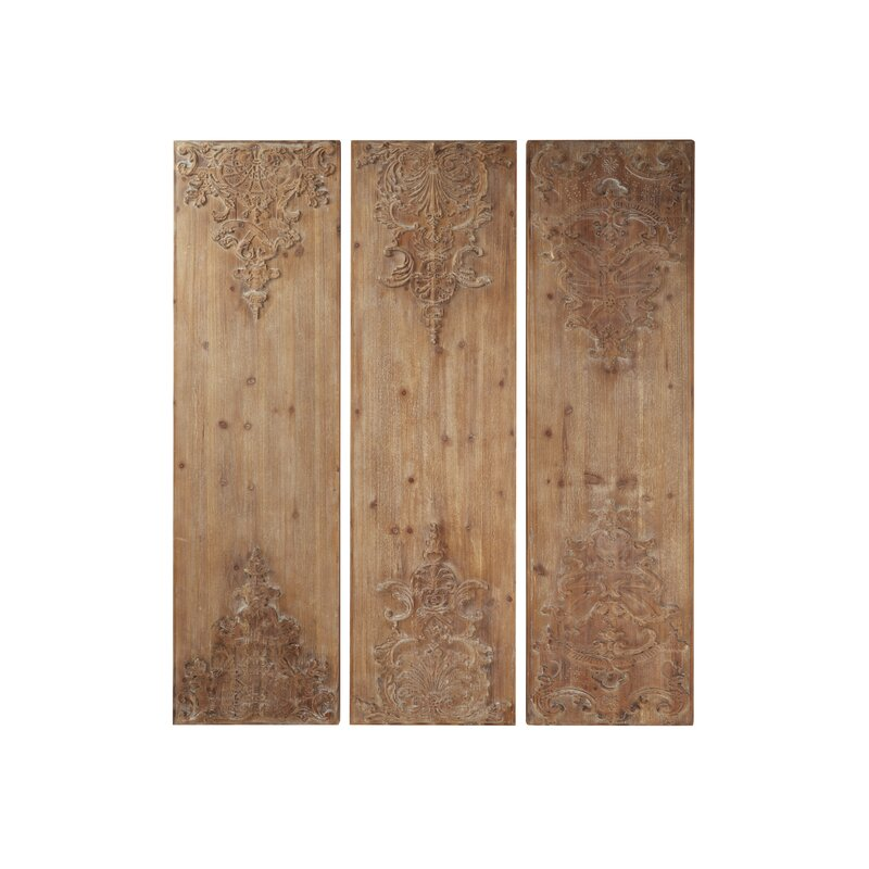 Hand Carved Natural Wood Panels