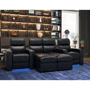 Upholstered Leather Home Theater Sofa (Row of 4) Red Barrel Studio