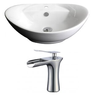 Great choice Ceramic Oval Vessel Bathroom Sink with Faucet and Overflow By American Imaginations