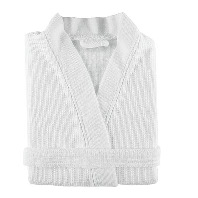 Gilmer Kimono 100% Cotton Waffle Bathrobe Alwyn Home Size: Medium, Color: White