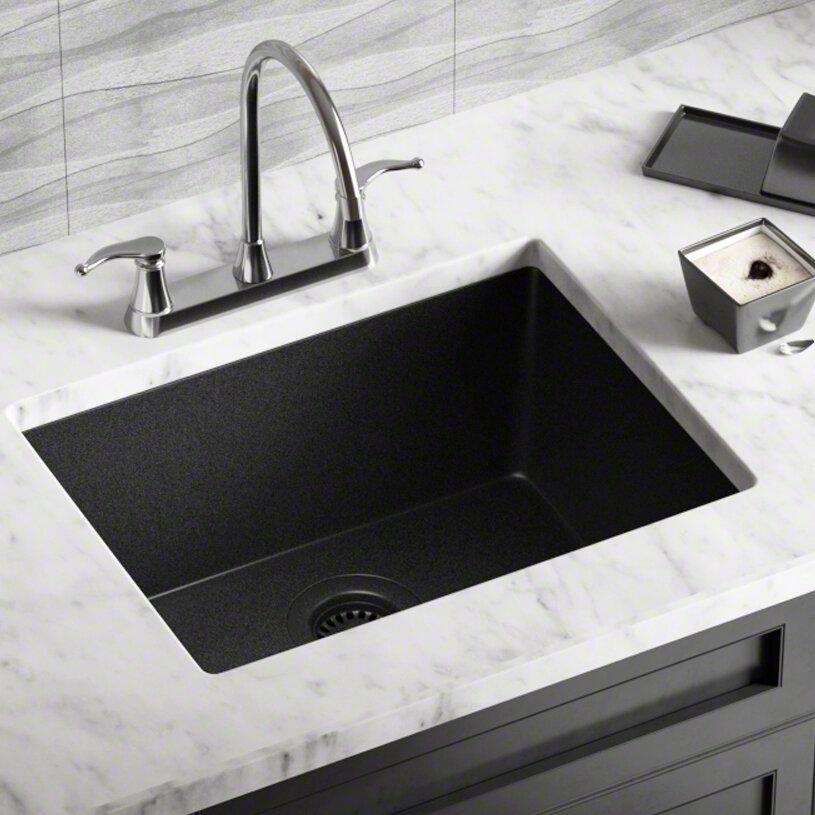 808 Bl Cst Granite Composite 22 L X 17 W Dual Mount Kitchen Sink