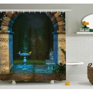 Forest Landscape From Ancient Archway Birds on Fountain Fairy Image Single Shower Curtain