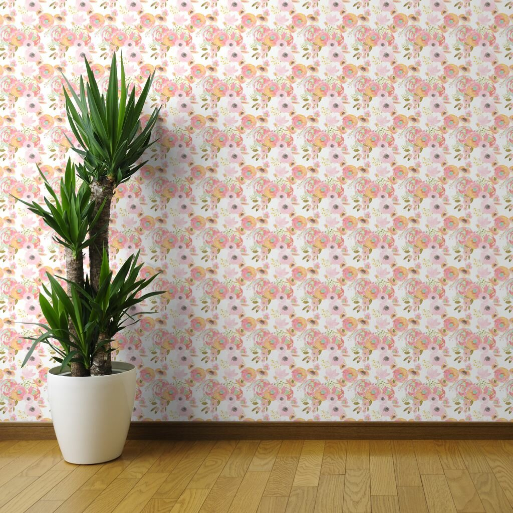 Ebern Designs Deschamp Coral Floral Removable Wallpaper Wayfair