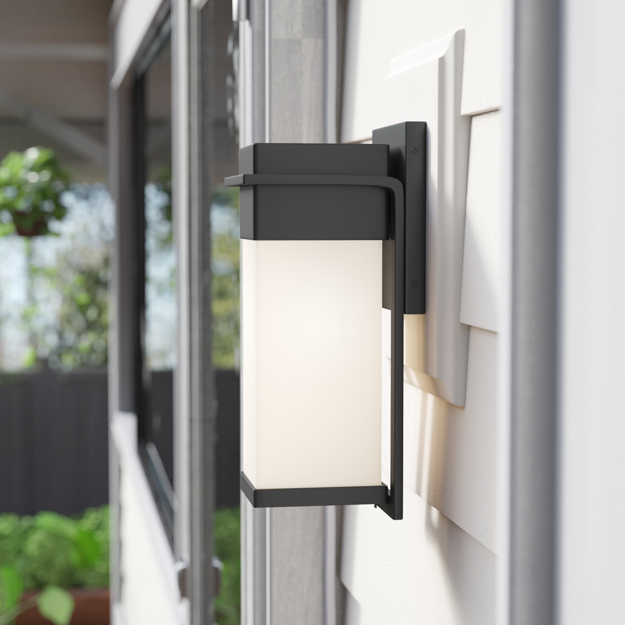 Brayden Studio Luzerne Led Outdoor Armed Sconce Wayfair