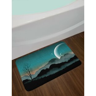 Night Teal Black Space Bath Rug