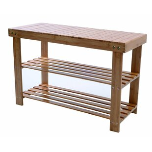 Rebrilliant Natural Bamboo 2-Tier Shoe Storage Bench