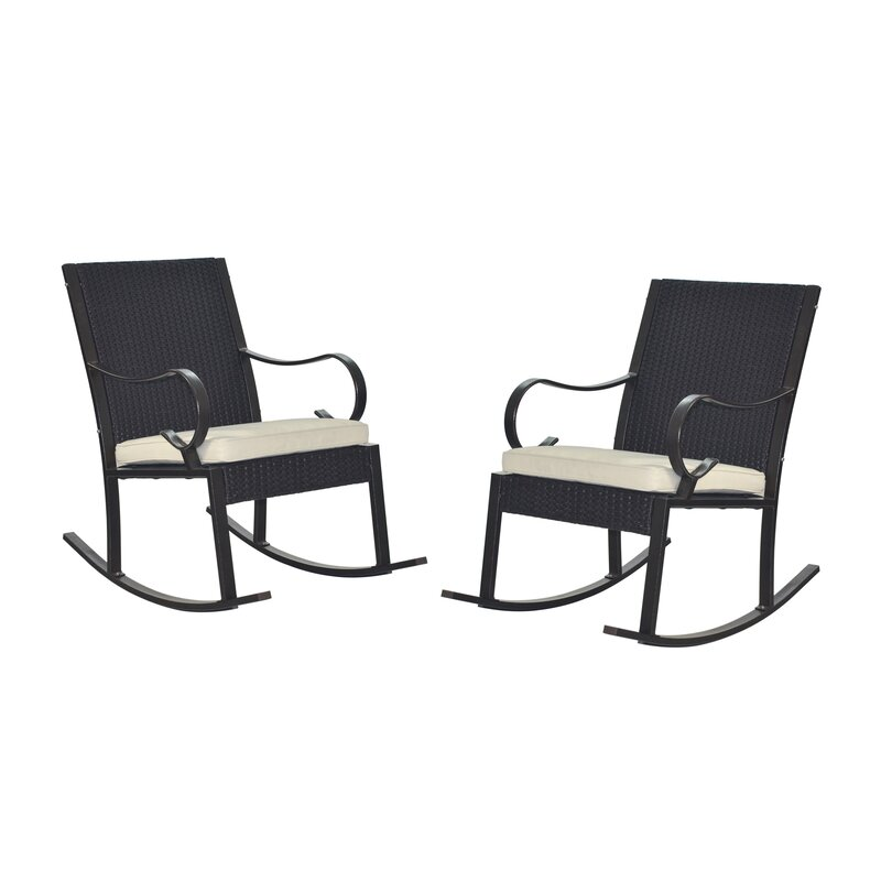 Bon Kampmann Outdoor Wicker Rocking Chair With Cushions
