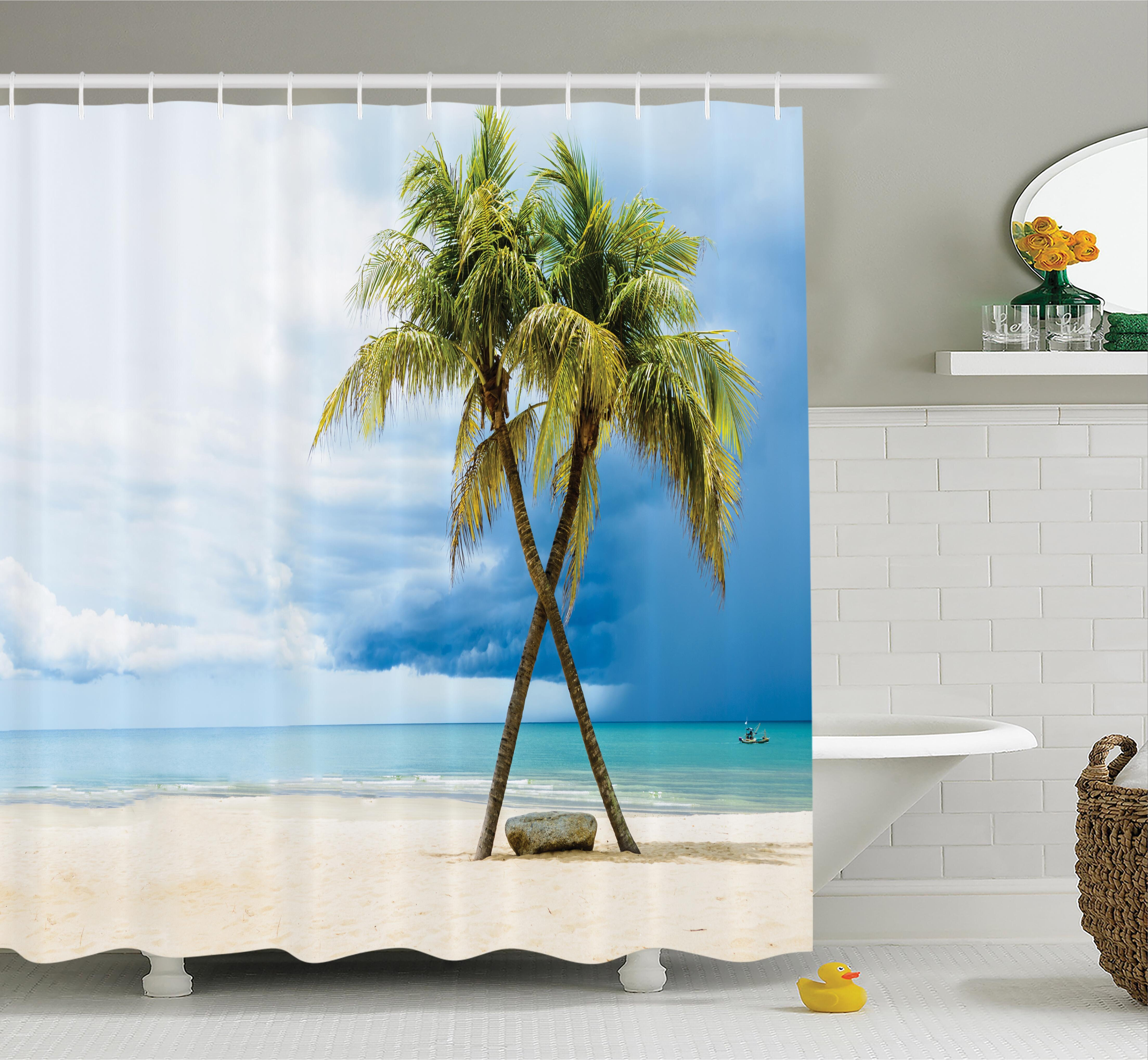 Ambesonne Tropical Beach Palm Trees Rock Shower Curtain Set ...