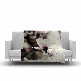 Vanilla Magnolia Floral Fleece Blanket ByEast Urban Home
