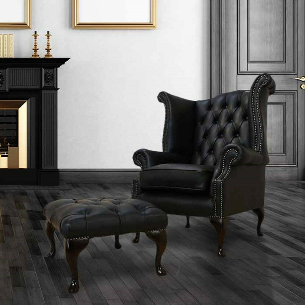 Winchester Leather Chesterfield High Back Wing Chair Footstool Shelly Black Wayfair Co Uk