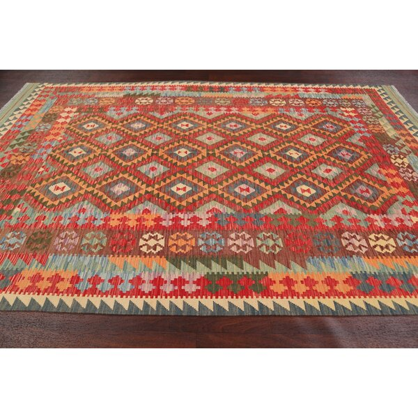 Rugsource Geometric Handmade Kilim Wool Orange Green Area Rug Wayfair