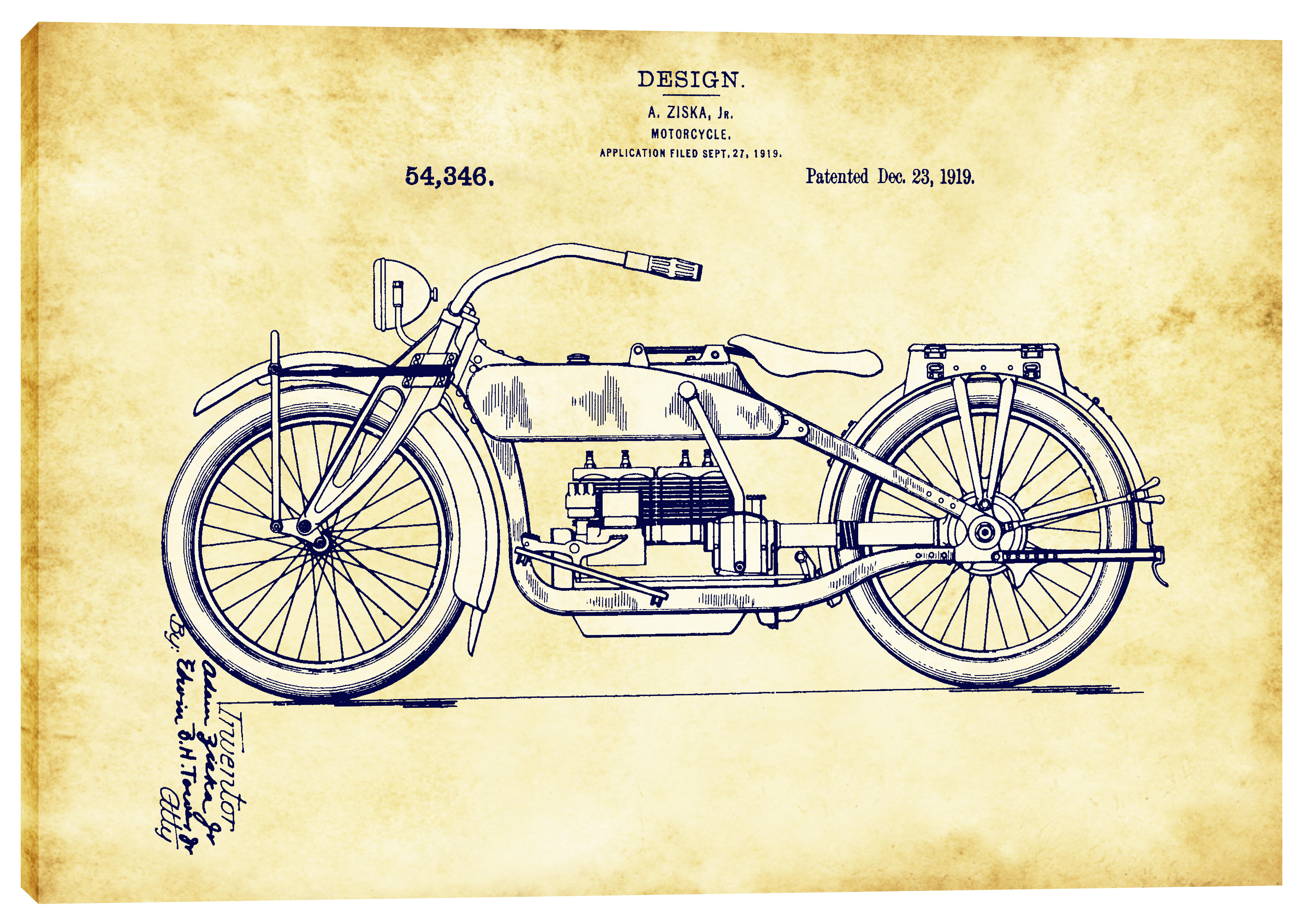 Epic Graffiti Vintage Motorcycle Patent Blueprint Graphic Art on ...