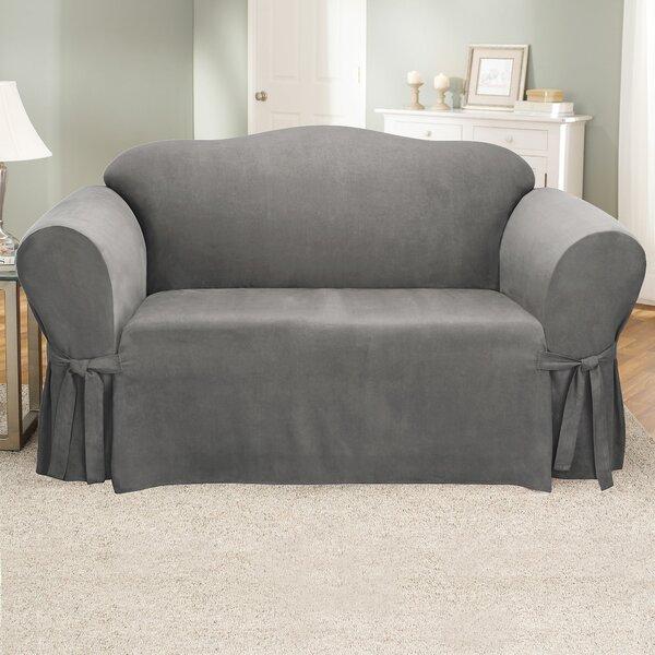 Sure Fit Soft Suede Furniture Box Cushion Loveseat ...