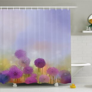 Reviews Watercolor Flower Home Onion in Meadow Pastoral Scenery at Springtime Illustration Shower Curtain Set ByAmbesonne