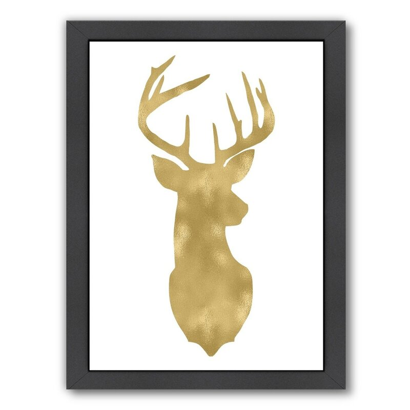 Mercer41 Deer Head Right Face Framed Graphic Art Wayfair