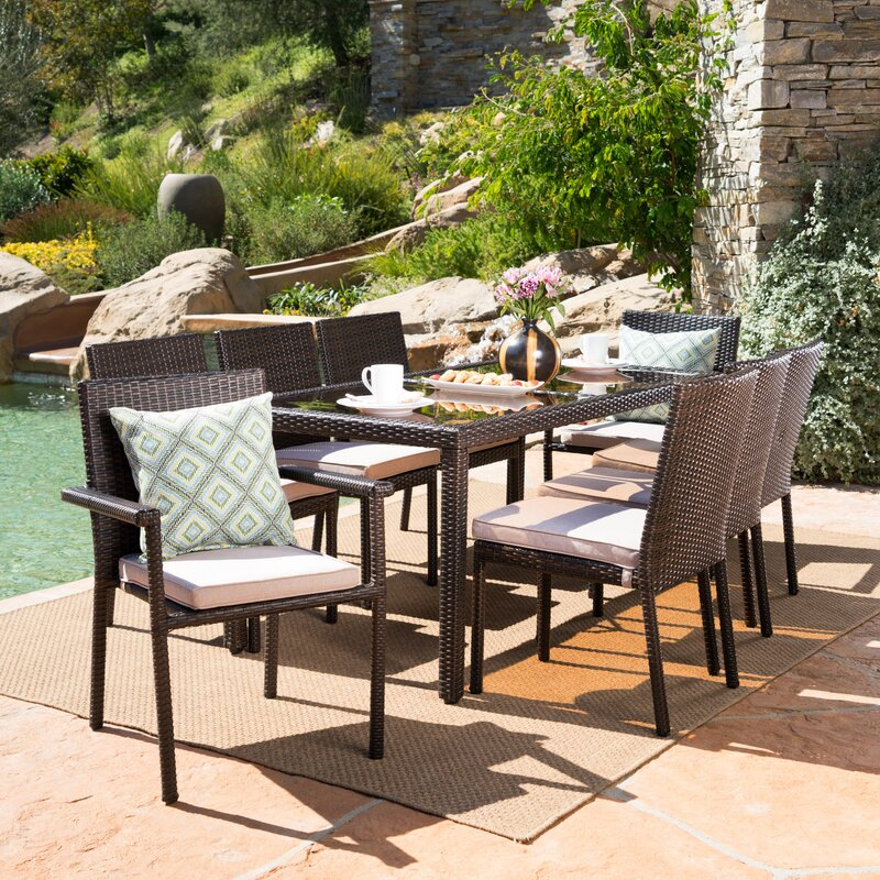 Ryleigh Wicker 9 Piece Dining Set with Cushion