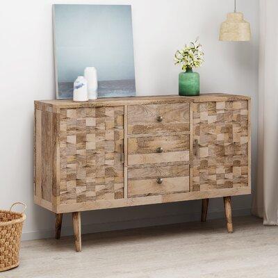 Union Rustic Westra Mid-Century Modern Mango Wood 3 Drawer Sideboard
