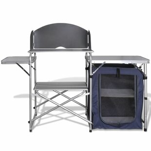 Foldable Camping Kitchen Unit With Windshield Aluminium By Freeport Park