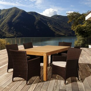Rosecliff Heights Bridgepointe 7 Piece Teak Dining Set with Cushions