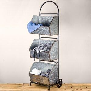 Lurie 3 Tier Galvanized Metal Rolling Shelf Storage Bin