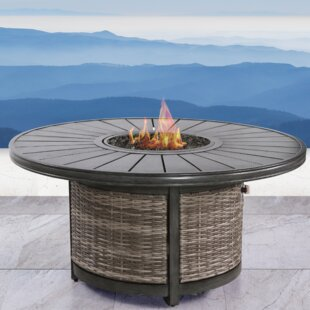 Vardin Resort Wicker Propane Fire Pit Table by Living Source International Cool