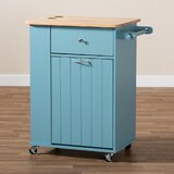 Jarrell Kitchen Cart Solid Wood by Rosalind Wheeler