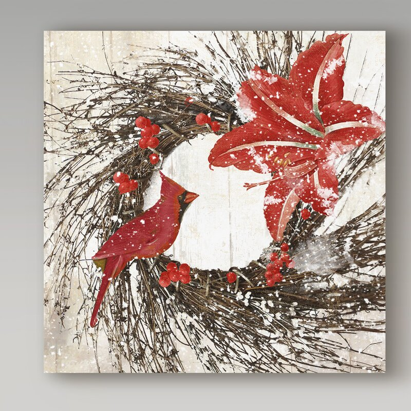Trademark Art Cardinal Christmas I Graphic Art Print On Wrapped Canvas Reviews Wayfair