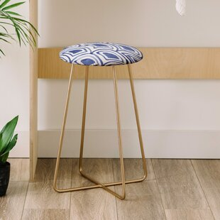 Natalie Baca Geo Wave Indigo 25 Bar Stool East Urban Home